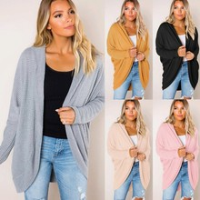 Вязаный женский свитер с длинным рукавом, трикотажная одежда с открытым передом, Повседневный Кардиган, свитера, верхняя одежда, новинка, зима