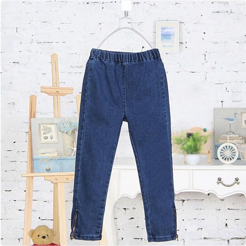 Весна-Осень, джинсы для девочек, детская одежда, детские джинсы с вышивкой в виде кота, для детей 2-От 3 до 12 лет