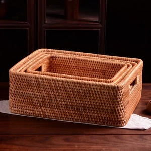 Image 5 - Storage basket DIY Manual Rattan primary color simple portable Miscellaneous food tea practical home kitchen Household items