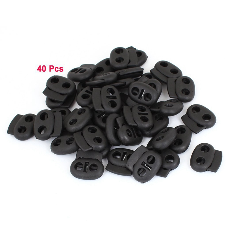Backpack Lanyard Spring Stop Ends Rope Cord Locks Black 40 Pcs