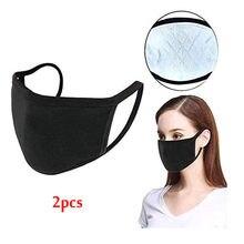 2pc pas cher coton masques unisexe tissu de protection lavable masque femmes hommes visage couverture anti-poussière Pm2.5 noir masque Earloop pansement