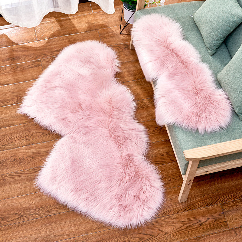 Cilected 2019 Double Heart-Shaped Imitation Wool Carpet Artificial Plush Soft Mat Girl Romantic Bedroom Rug Cushion Blanket Home