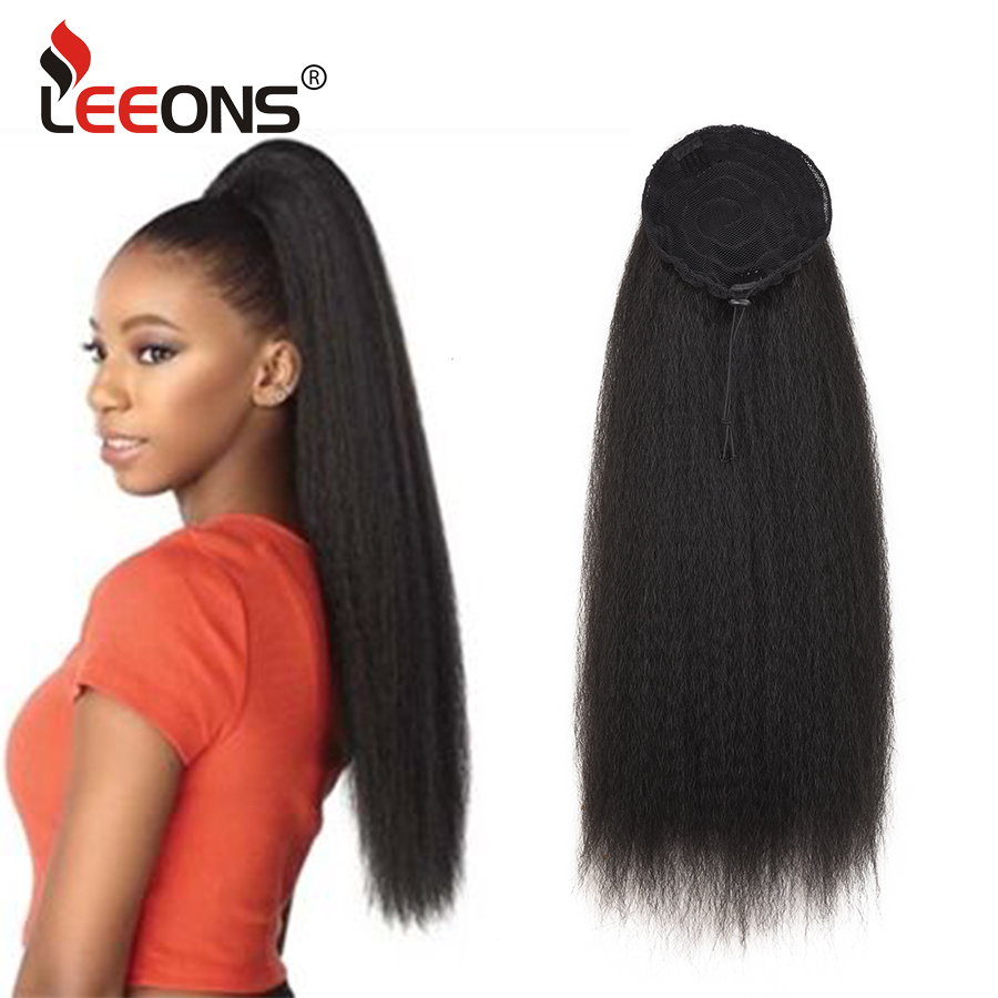 Leeons Kinky Straight Ponytail For Women Synthetic High Quality Drawstring Afro Yaki Hair Extensions 22Inches Long Hair Ponytail