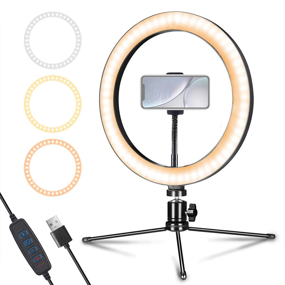 10inch Mini LED Desktop  Dimmable Video Ring Light Selfie Lamp With Tripod Stand USB Plug For Photography Studio Phone Holder