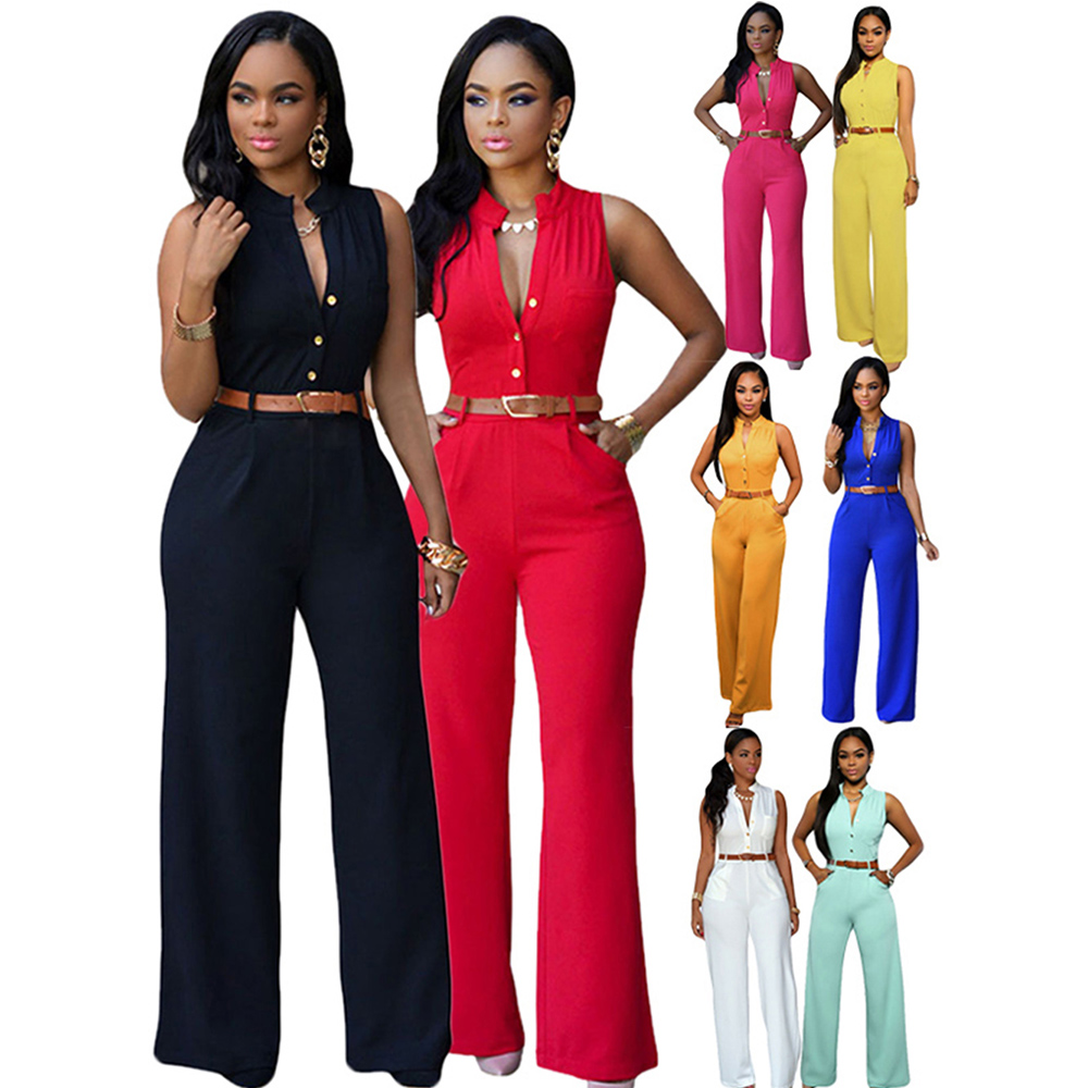 Women Fashion Sleeveless Plunge V Neck Pantsuit Wide Leg Jumpsuit Romper With Belt