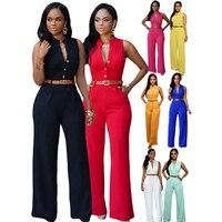Women Fashion Sleeveless Plunge V Neck Pantsuit Wide Leg Jumpsuit Romper With Belt