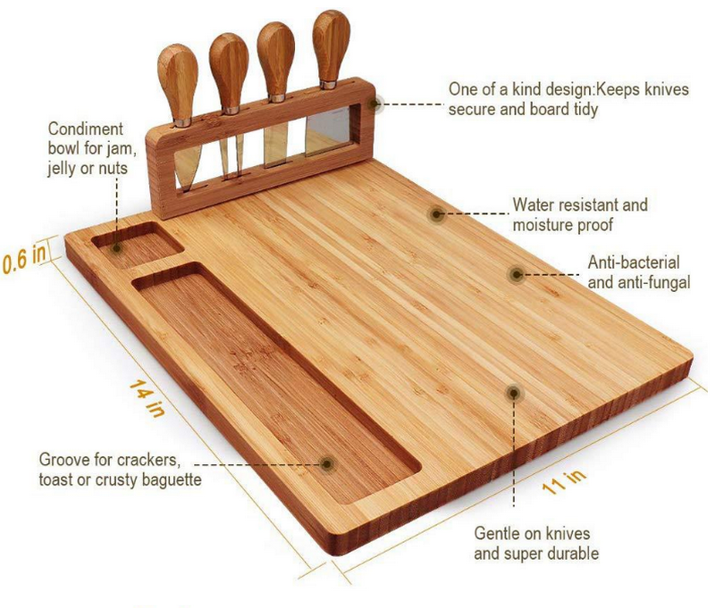 Wood - High-Quality Bamboo Cheese Board with a Professional Four-Piece Knife Set