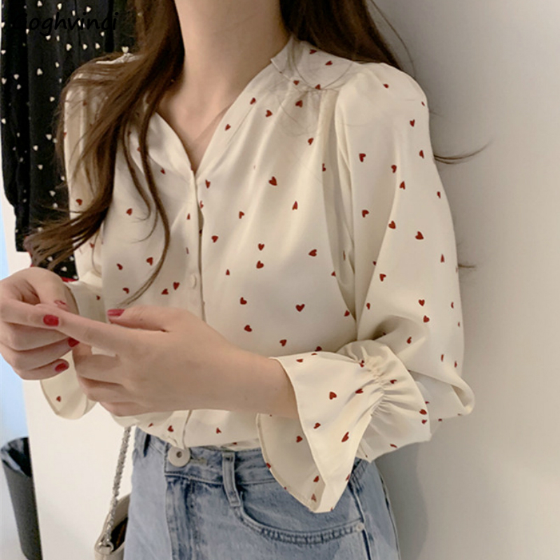 Blouses Women Long Flare Sleeve V-neck Sexy Printed Sweet Elegant Chiffon Women Shirts Plus Size 2XL Loose Retro Chic Stylish BF