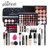 15 20 24 pièces/ensemble maquillage ensembles cosmétiques Kit fard à paupières rouge à lèvres crayon à sourcils brillant à lèvres maquillage brosse poudre bouffée avec sac de maquillage
