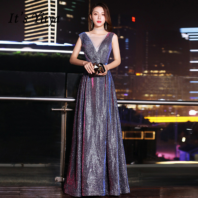 It's Yiiya Formal Evening Dress Sparkle V-neck Long Women Party Gowns Plus Size Elegant Vestidos Lace Up Robe De Soiree K219
