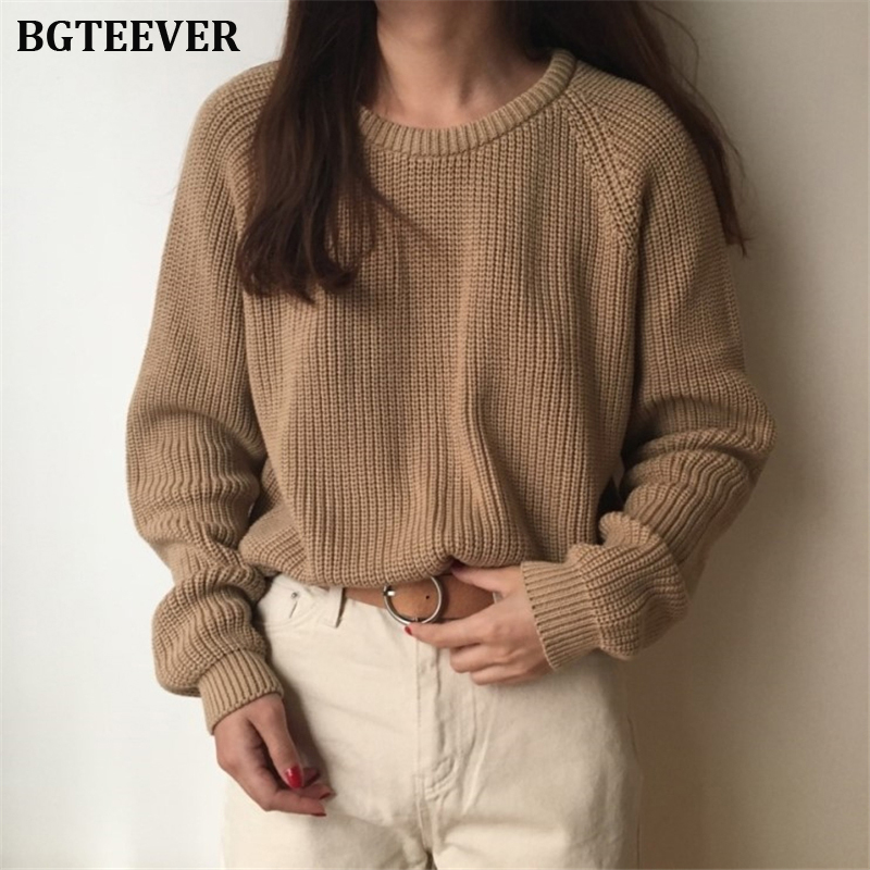BGTEEVER Casual Basic Khaki Women Sweater O-neck Autumn Winter Sweater Female Full Sleeve Knitted Pullovers Jumpers Femme 2019