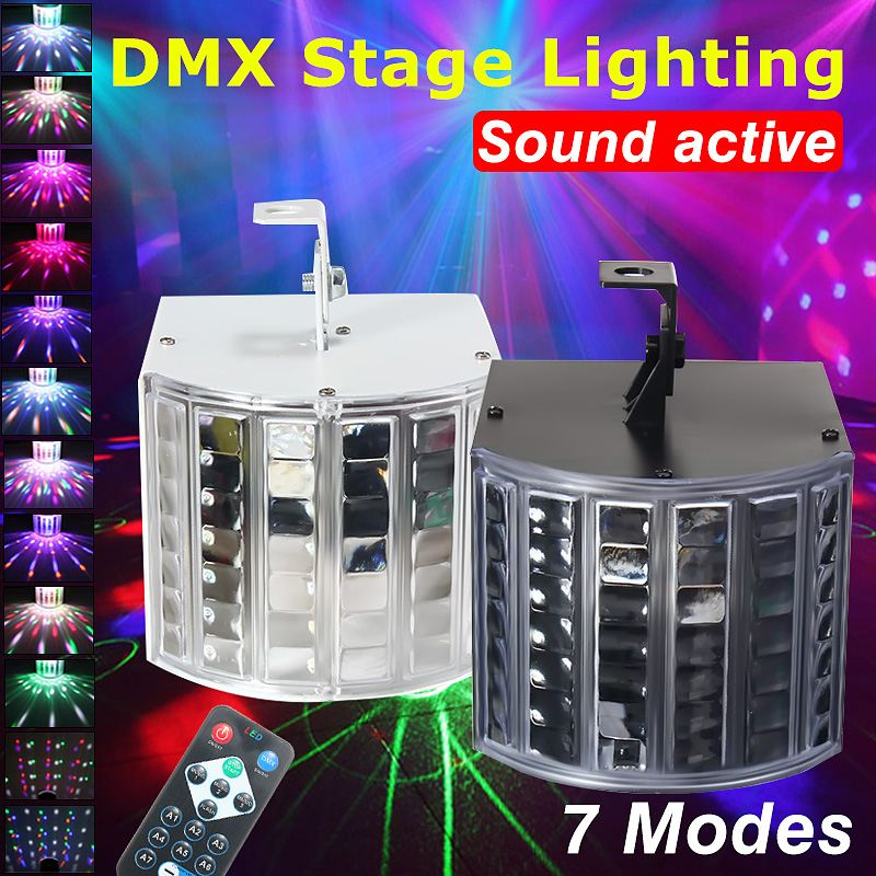 Smuxi 18W RGB LED Disco Light  Lights Sound Actived DMX512 Projector Effect Lamp Light Music Christmas Party
