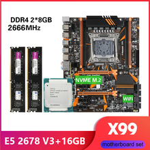 Kllisre X99 D4 motherboard combo with Xeon E5 2678 V3 LGA2011 3 CPU 2pcs X 8GB = 16GB 2666MHz DDR4 memory