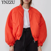 Oversize Red Women Bomber jackets 2019 Autumn Winter Long sleeve Female parkas Loose Casual Short Sustans Outwear YNZZU 9O003
