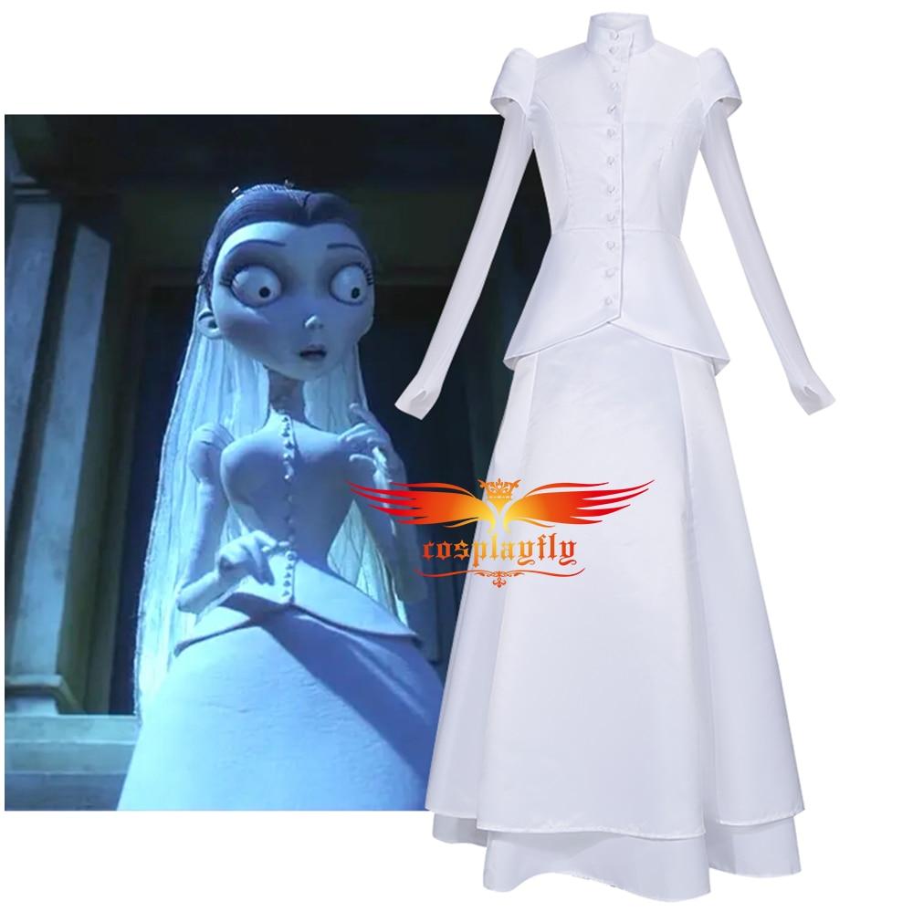 Disfraz de Cosplay de Anime de la novia del cadáver Victoria Everglot de las mujeres blancas de dos piezas vestido de novia musulmana de Halloween|Disfraces de películas y TV|   - AliExpress