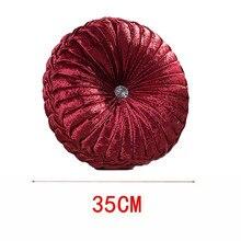 European Style Velvet Pleated Pumpkin Pillow Round Decorative Sofa Throw  Cushion Decor Home Textile