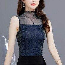 Korean Silk Women Blouses Woman Satin Mesh Blouse Tops Plus Size Woman Sleeveless Blouse Shirts Blusas Mujer De Moda Women Tops