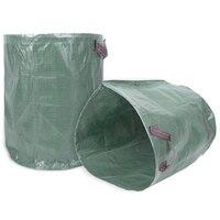 Saco de lixo do jardim  2 pces 270 litros grande saco de lixo do jardim recusar o escaninho do saco do lixo com o punho costurado dobro que recicla ele|Cestos de lixo| |  -
