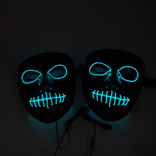 The New Halloween Mouth Ghost Mask Horror Scared Cold Light Glowing V-Word Blood Sewing Transparent Blue