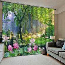 Modern Curtains Lotus Window Curtains Living Room Bedroom Home Decor Park scenery Blackout Drapes(China)