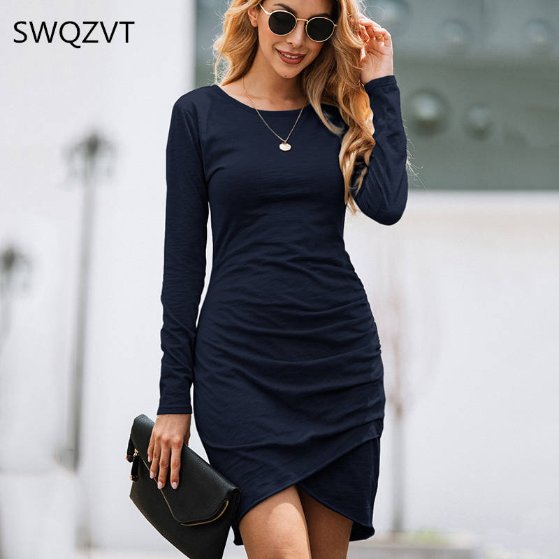 Irregular Solid  Women Dress  2019 Sexy Slim Bodycon Dress Ladies  Long Sleeve Autumn Winter Party Bandage Dress Fashion Vestido