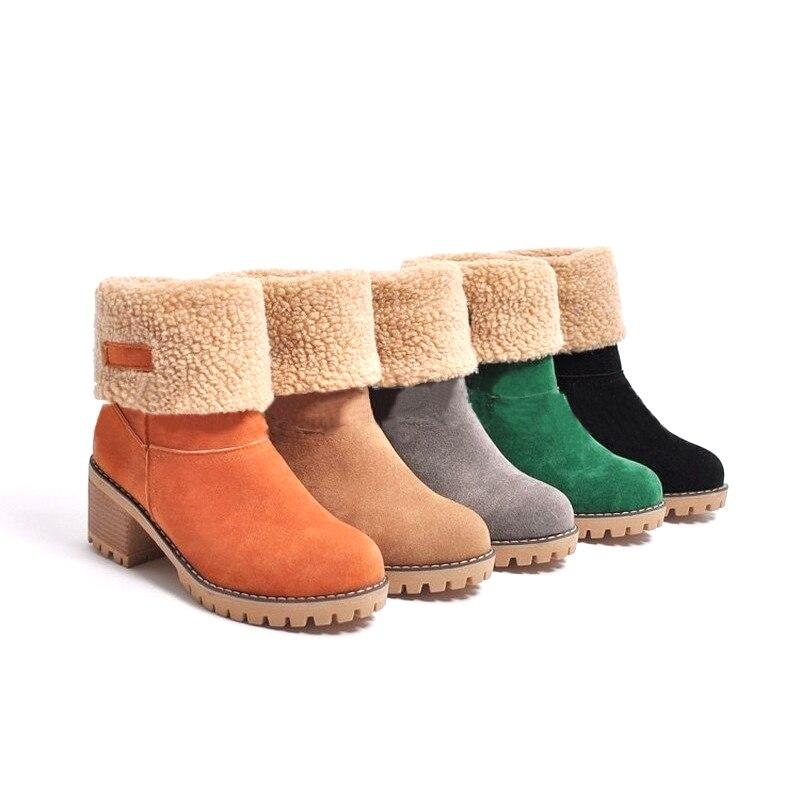 여성 캐주얼 패션 따뜻한 눈 겨울 발목 부츠 광장 하이힐 플랫폼 신발 여성 botas zapatos 드 zapatillas mujer-에서앵클 부츠부터 신발 의  그룹 2
