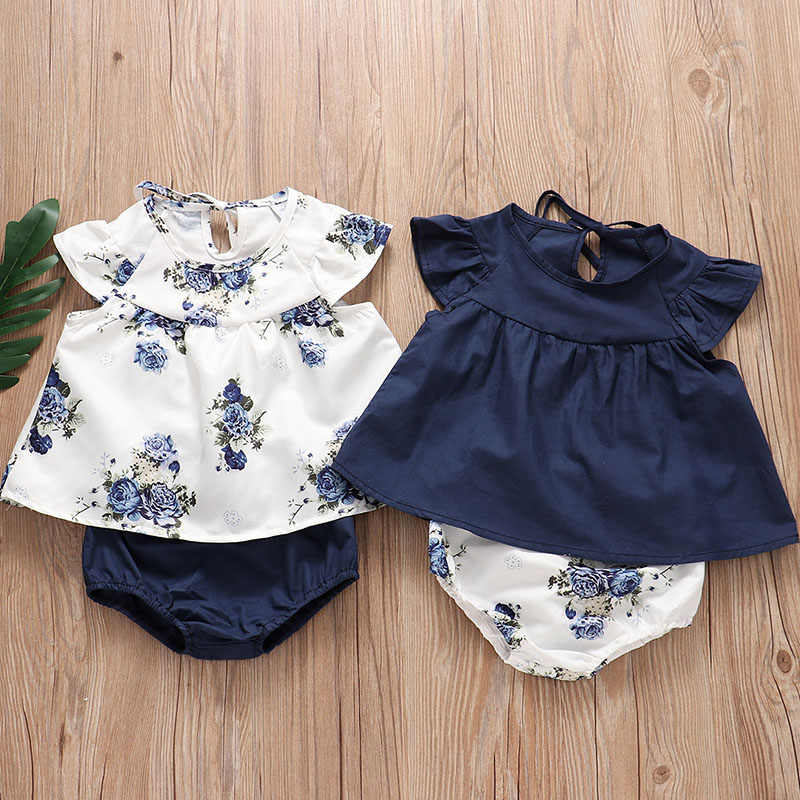 Infant Newborn Baby Girl Suit Flying Sleeves Pleated Skirt + Floral Shorts Suit Newborn Girl Infant Girls Clothes for Baby Girls