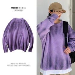 Sweater Men Warm Fashion Sweter Clothes Tie Dyed Printed Casual Knit Sweaters Man Streetwear Loose Long-sleeved Pullover Men