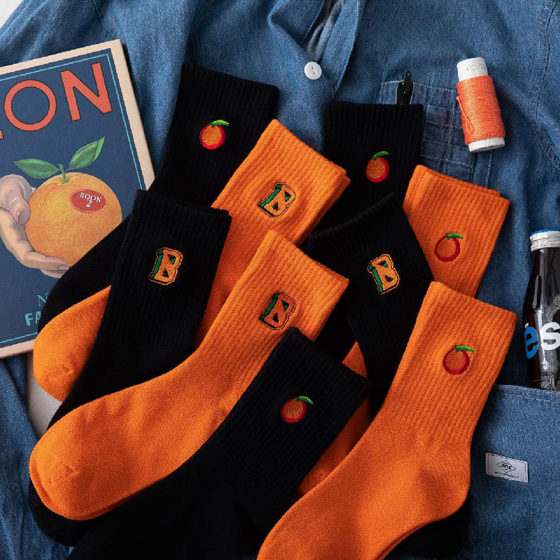 Korean Socks Women's Cotton Explosion Models Orange Socks Embroidery Alphabet Socks Men's Tide Socks
