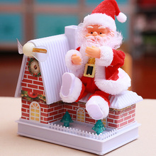 Christmas Toy Electric Santa Claus Cute Rotatable Glowing Windmill House Toy New Year Gift for Children Toy Xmas Gift Decoration cute magical jellyfish pet abs children learning toy christmas gift