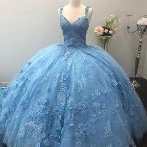 Bleu ciel princesse Quinceanera robes Appliques dentelle robe de bal vestidos de 15 anos robes de mascarade doux 16 robe taille personnalisée