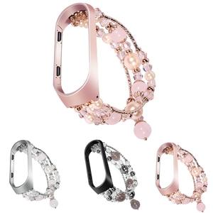 Image 1 - Bracelet Pulseira pour xiaomi mi bande 3 mi bande 4 Bracelet perles de cristal Agate chaîne sangle remplacement Smart poignet accessoires bandes