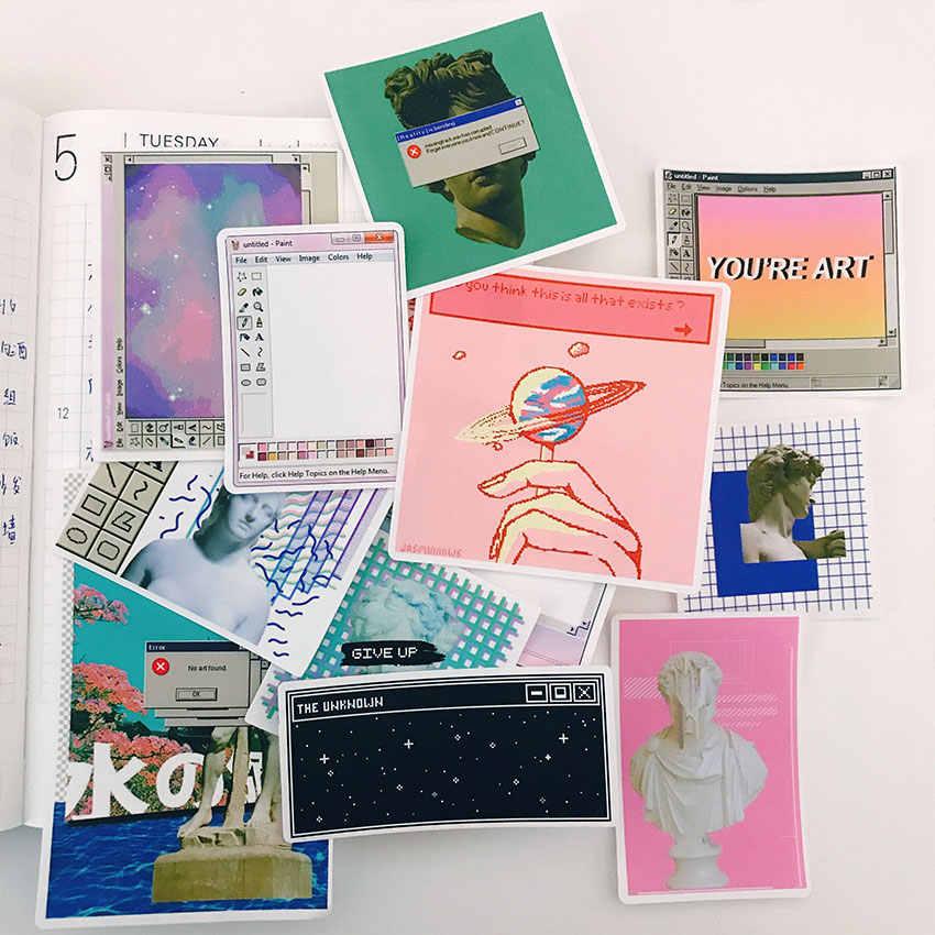 12 adet sanal uzay çıkartmalar el sanatları ve Scrapbooking çıkartmaları kitap öğrenci etiket dekoratif sticker DIY kırtasiye