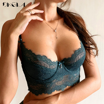 Fashion Sexy Underwear Ultrathin Bra Plus Size 38 40 42 Brassiere Green Women Lingerie Lace Eyelash Transparent Bras Embroidery 1
