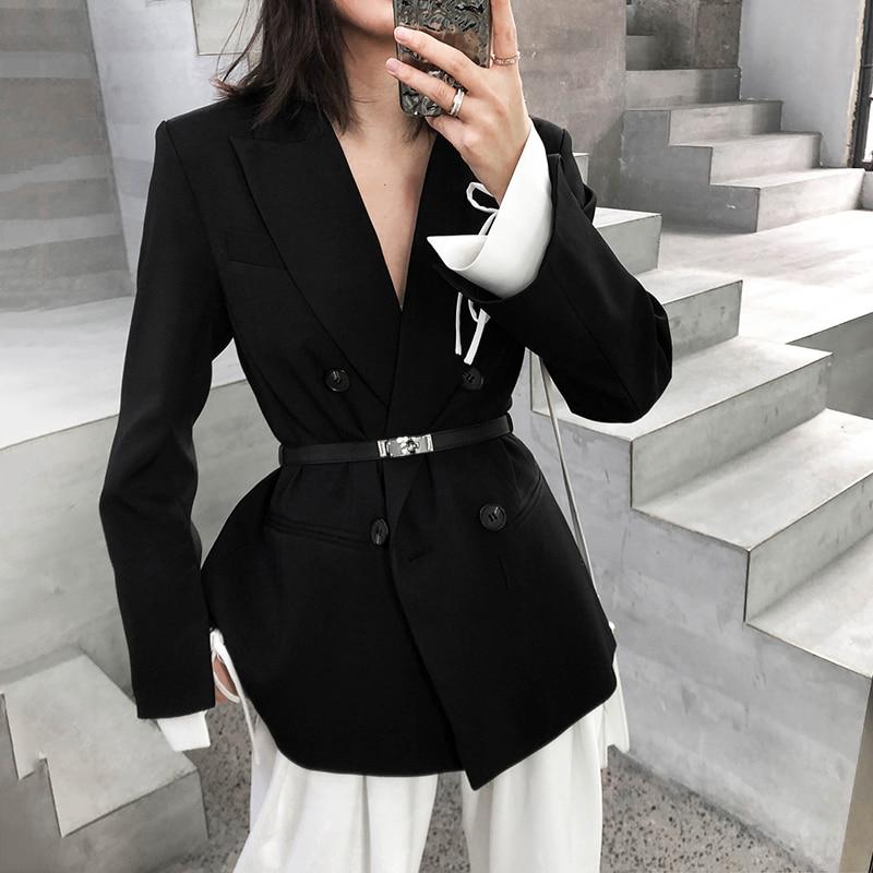 Women Blazers and Jackets Elegant Slim Fit FakeTwo Piece Black Suit Jacket Feminino Branco Female Workwear