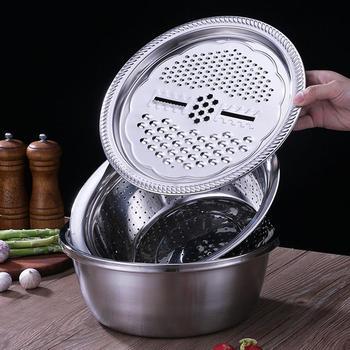3 unids/set multifuncional ralladores de cocina con queso de desagüe de acero inoxidable de la cuenca de verduras ensalada de frutas