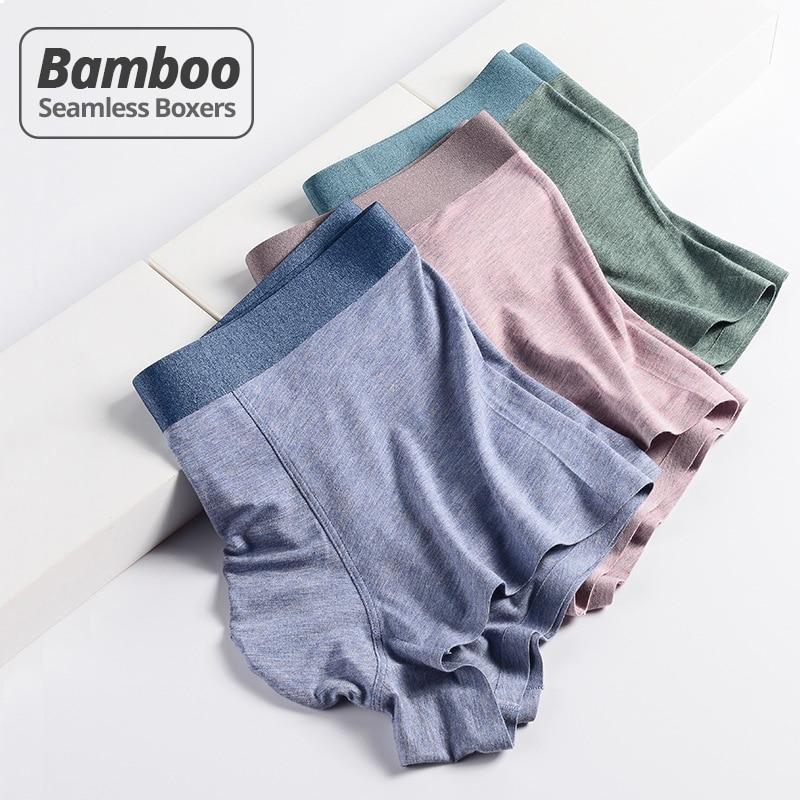 HSS yeni stil Trend açık lüks erkek iç çamaşırı bambu elyaf dikişsiz erkek boksörler nefes kısa Homme külot 3 adet/grup