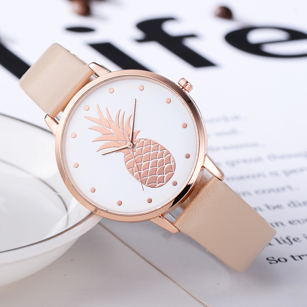 Fashion 2019 Womens Men Pineapple Faux Leather Analog Quartz Watch Women's Quartz Watch Zegarek Damski Reloj Mujer Q