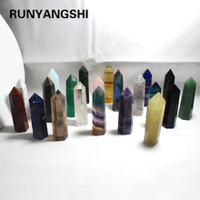 85-90mm Stone Point  Tower Wicca Healing Crystal hexagon Natural Minerals Magic Wand Home Decor Wedding Amethyst Rose Quartz 1pc 53g 90mm natural fantasy amethyst crystal wand energy quartz crystal point healing stone