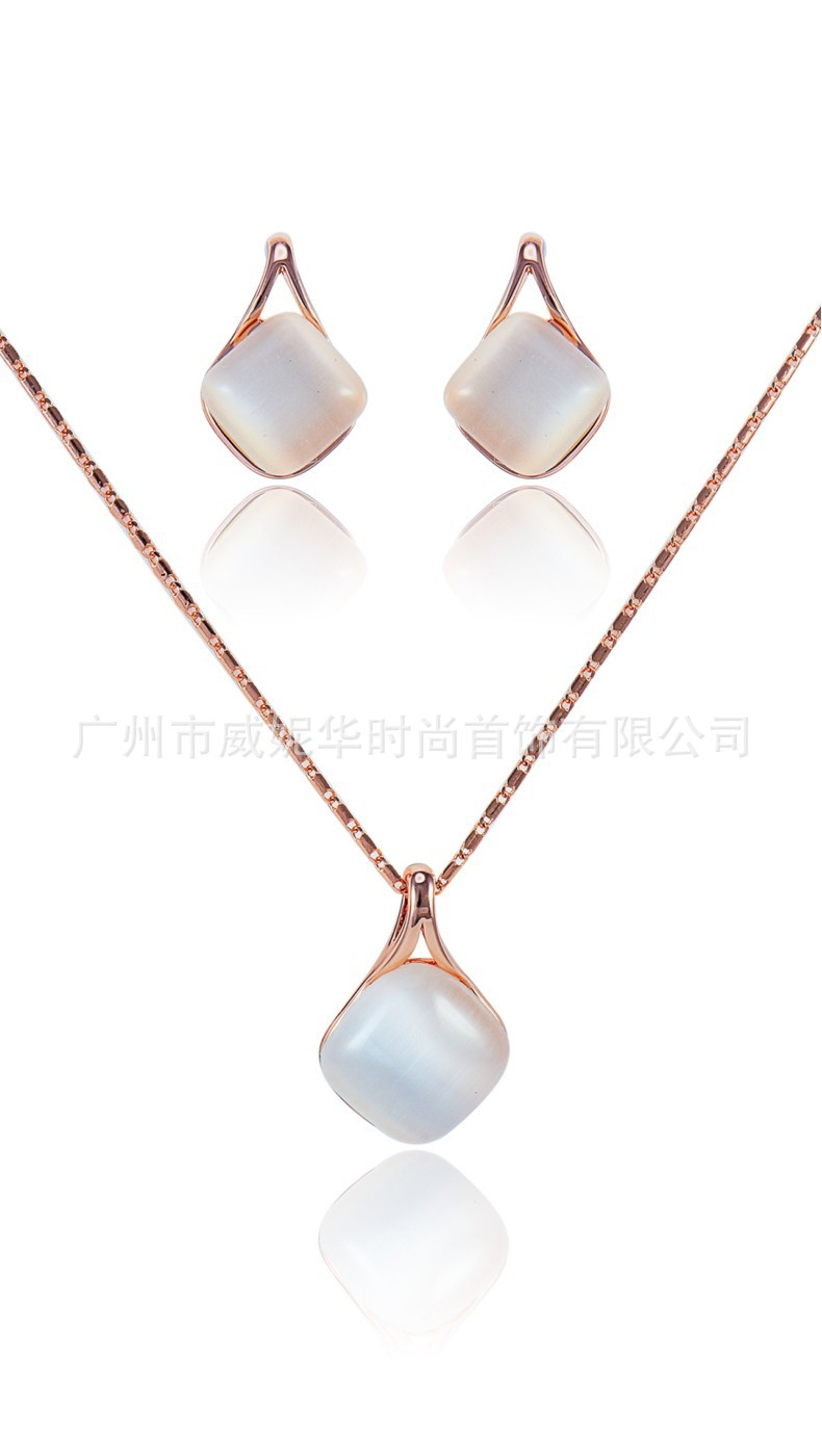 Jewelry-Set Viennois Drop-Earrings-Set Opal Necklace American-Style European And Classic