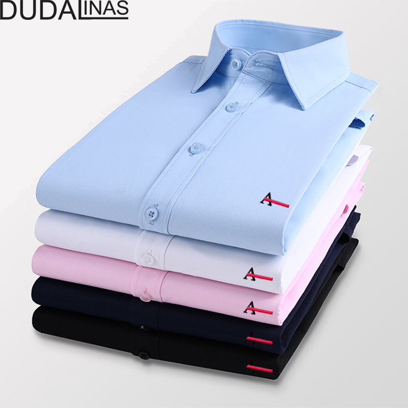 Dudalinas Aramy Camisa Shirts Male Long Sleeved Solid Embroidery Slim Fit Men's Social Business High Quality Casual Men Shirt 1