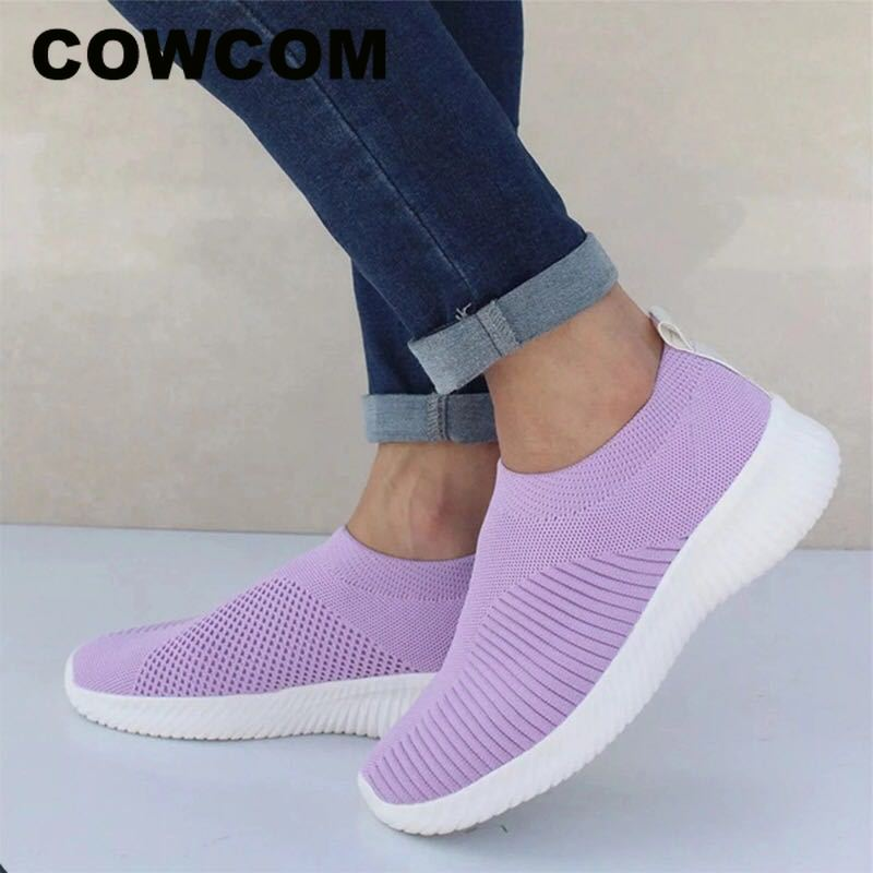 COWCOM Shoes Mesh Sneakers Women's Soft Weaving-Socks Elastic-Cloth Knitted Fly FTX-AWW
