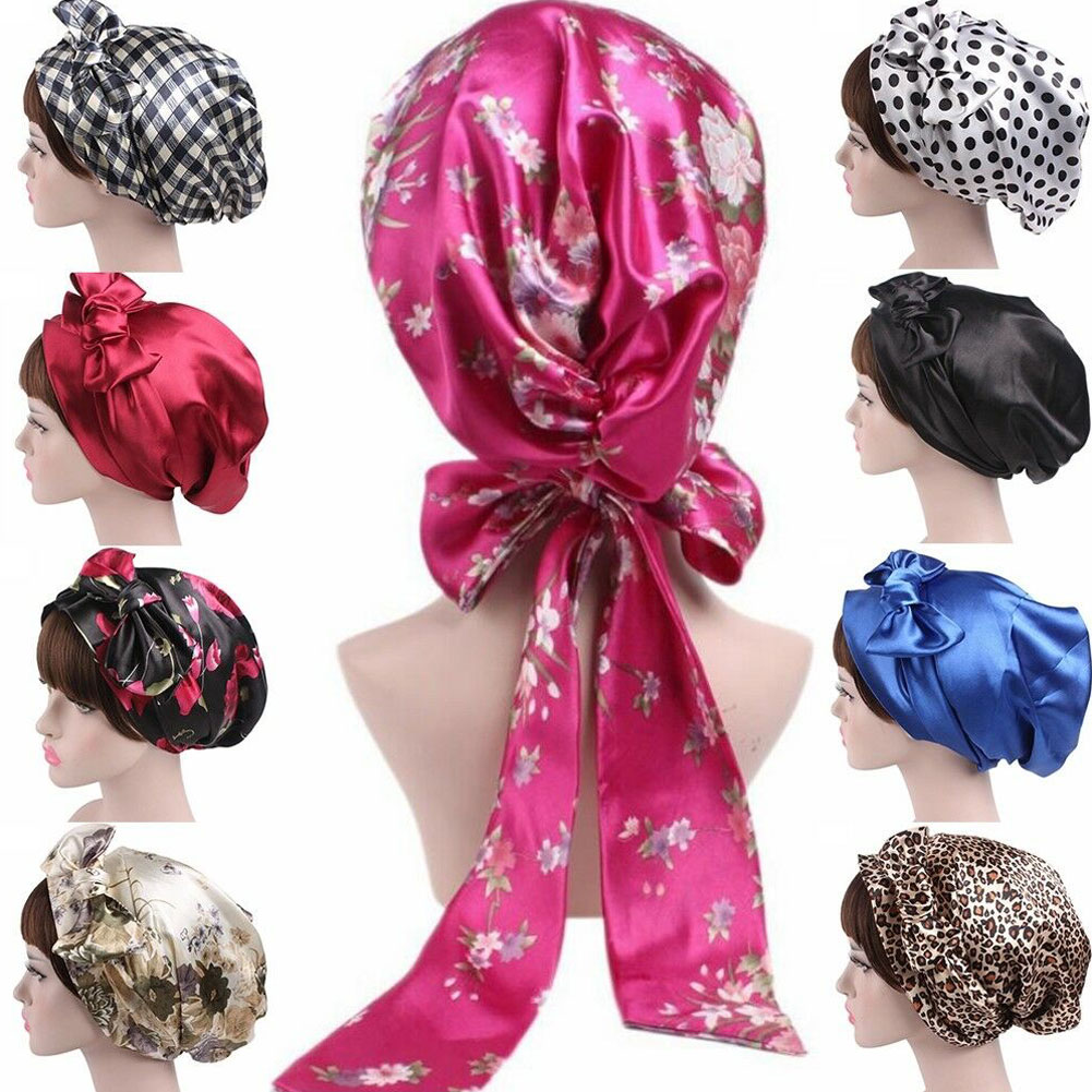 Silk Night Sleep Cap Hair Bonnet Hat Head Cover Satin Turban Wrap Headscarf