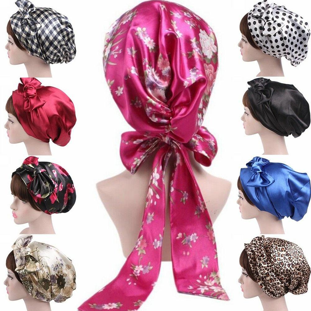 Silk Night Sleep Cap Hair Bonnet Hat Head Cover Satin Turban Wrap Headscarf