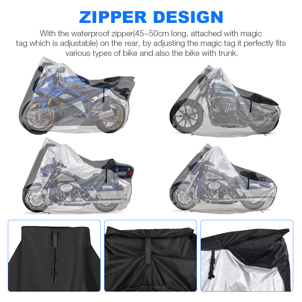 Image 4 - 210D Motorcycle Moto Cover Snow Rain Coat UV Protective Bike Scooter Covers Protector For Trunk Bracket Universal Motorcycles D4-in Car Covers from Automobiles & Motorcycles