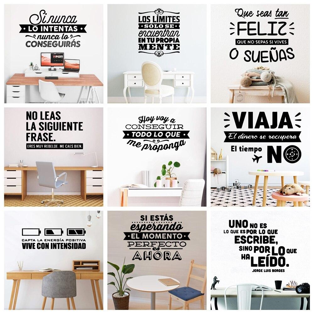 Adesivos de parede de vinil para escritório, decalques de parede em francês, adesivos de decoração para sala de estar, papel de parede