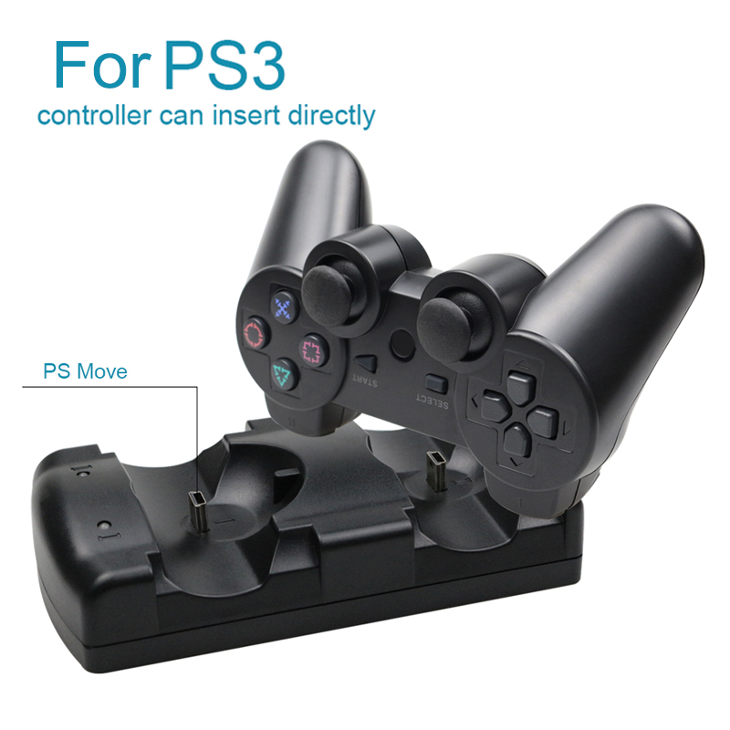 For Sony PS3 For MOVE Controller Dual Charger USB Cable Powered Charging Dock For Playstation 3 Move Joystick Gamepad Controle