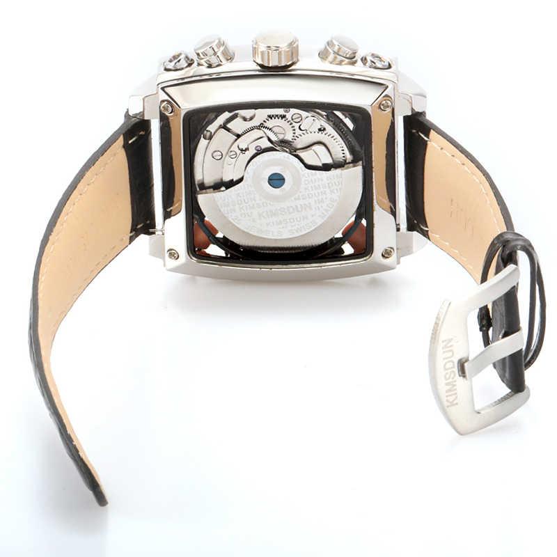 Reloj mecánico para hombre, marca principal de KIMSDUN, Relojes de Cuero militar resistentes al agua, de moda, para ocio y ocio, Tourbillon