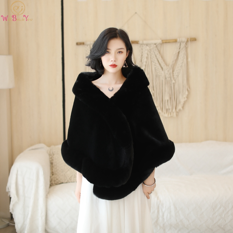 Black/Wine Red Formal Party Evening Jacket Wrap Faux Fur Wedding Capes 2019 New Winter Women Bolero Wraps Winter Shawls In Stock