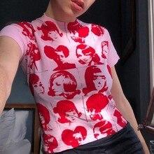 Porträt Grafik Druck T-shirt 90s Vintage Harajuku Crop Top Y2K Ästhetischen Sommer Slim Fit Tees Tops Frauen Streetwear Gothic
